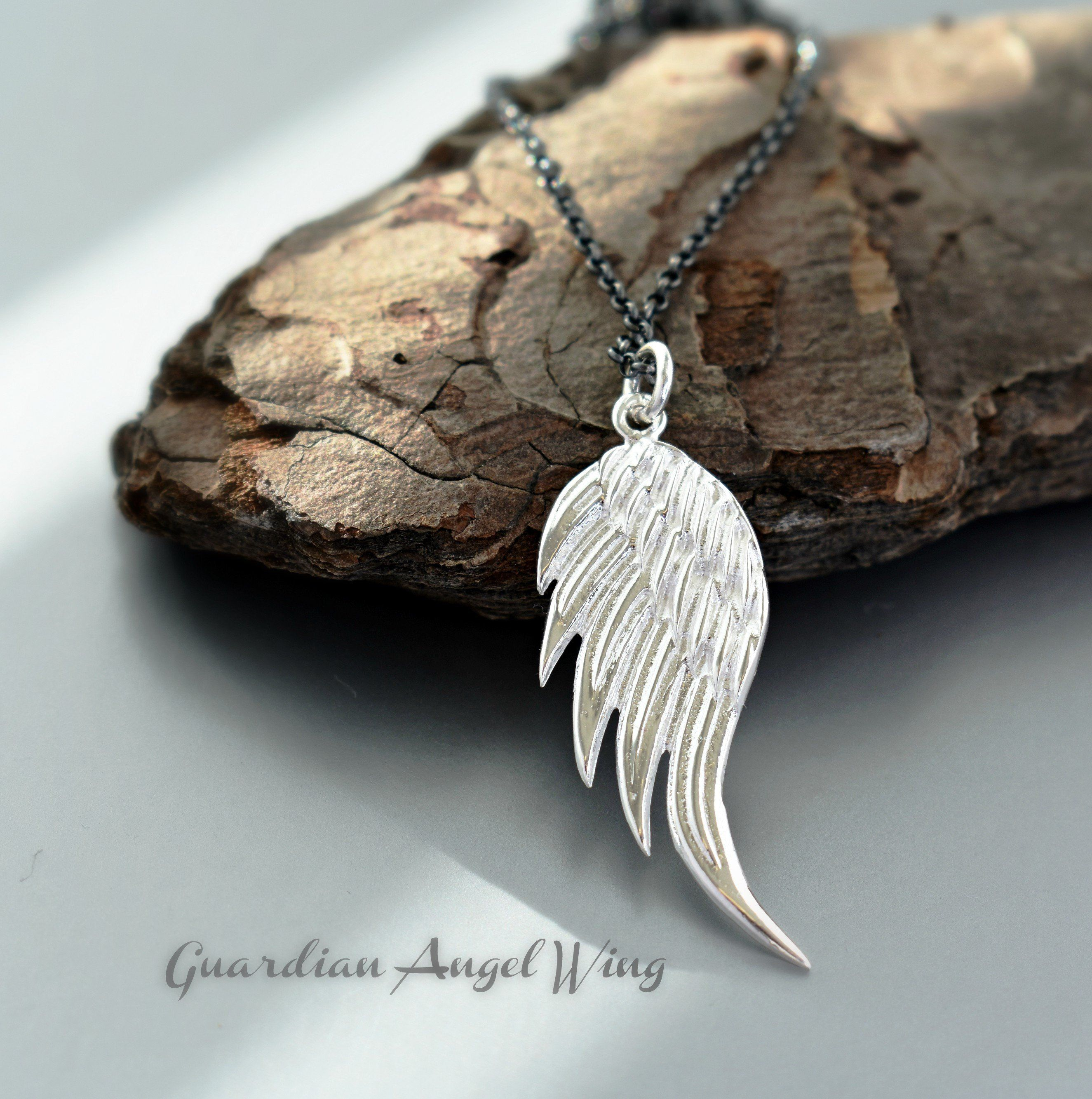 Silver Guardian Angel Wings Necklace Feathers Charms Spiritual Jewellery