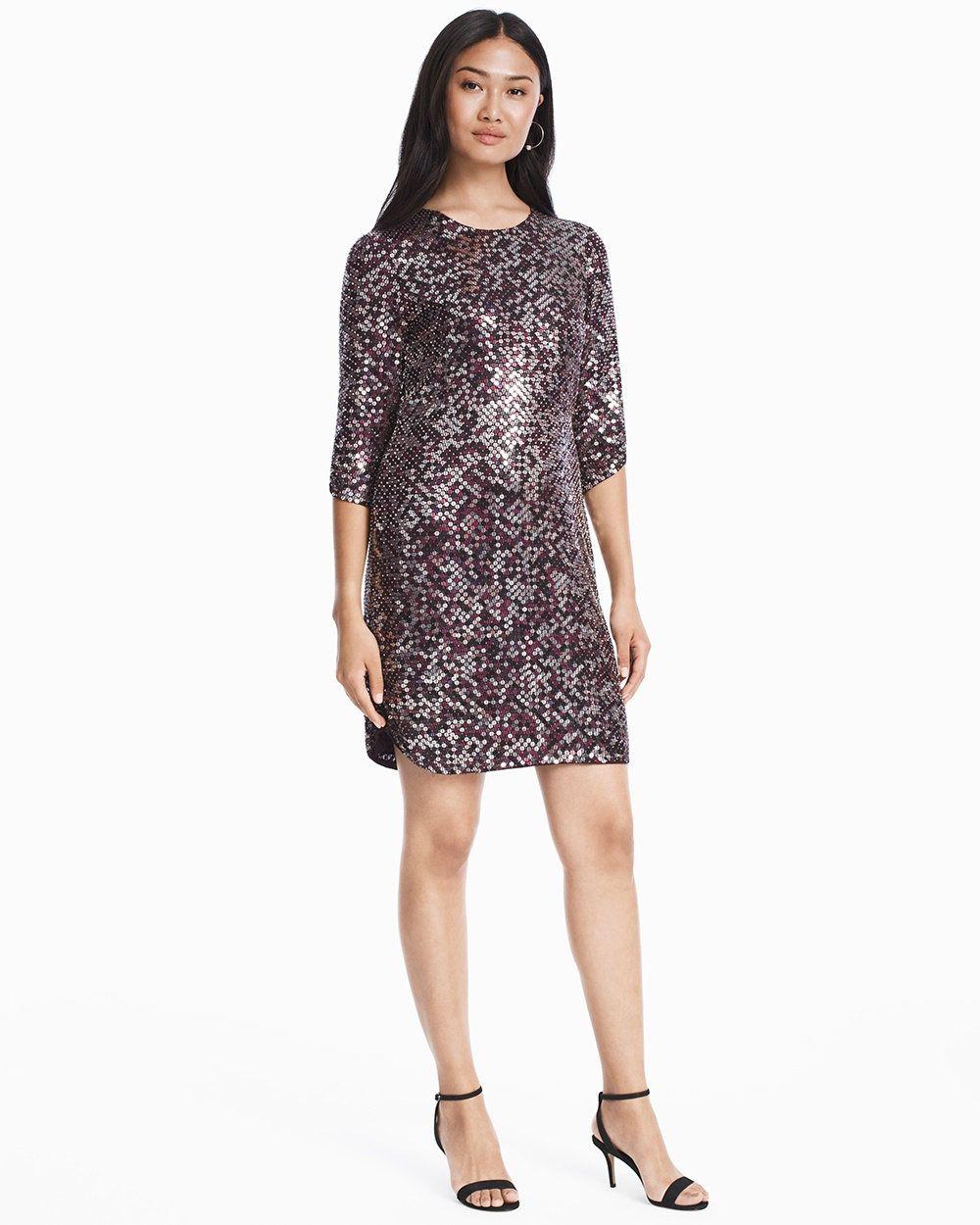 c1746c13ae54 Petra 3/4-Sleeve Sequin Shift Dress WHBM | Designer Dresses | Dress ...
