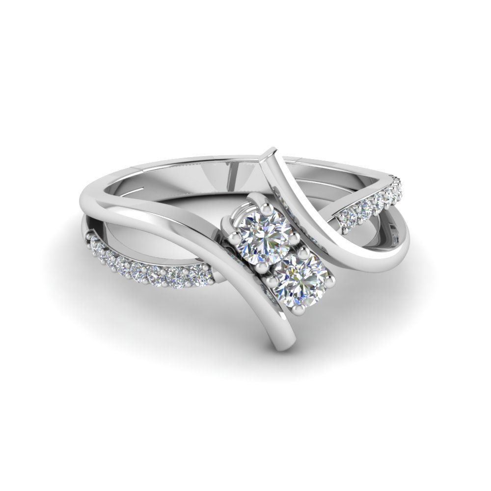 Crossover 2 Stone Diamond Alternate Engagement Ring In 14k White Gold Diamond Alternative Engagement Ring Engagement Rings Twisted White Gold Diamond Wedding Rings