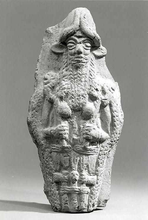 ancient-mesopotamia:  Molded plaque: bearded underworld god, Old Babylonian, ca 2000-1600BC, Mesopotamia. Picture: MMA, NY
