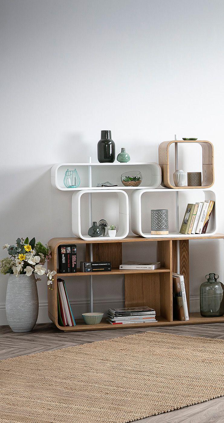 Etagere Modulable Bois Clair Et Blanc Brick Miliboo En 2020 Chambre Design Meuble Design Idees De Decor