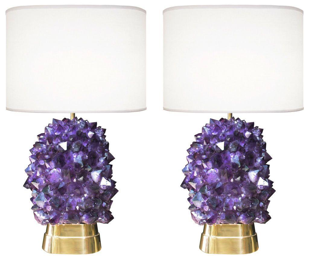 Pair Of Amethyst Bronze Lamps 1stdibs Com Bronze Lamp Vintage Table Lamp Lamp