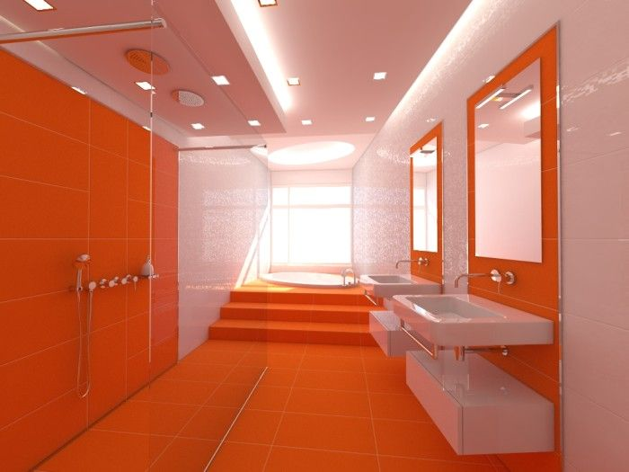 Flashy Orange Details Refreshing Attractive Bathroom Design : Orange Themes  Interior Design Bathroom Outfitted With Amazing Undermount Bathtub And  Shower ...