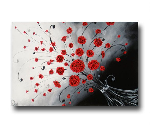 Fantastic Abstract Flower Painting Red Black White Painting Original Largest Home Design Picture Inspirations Pitcheantrous