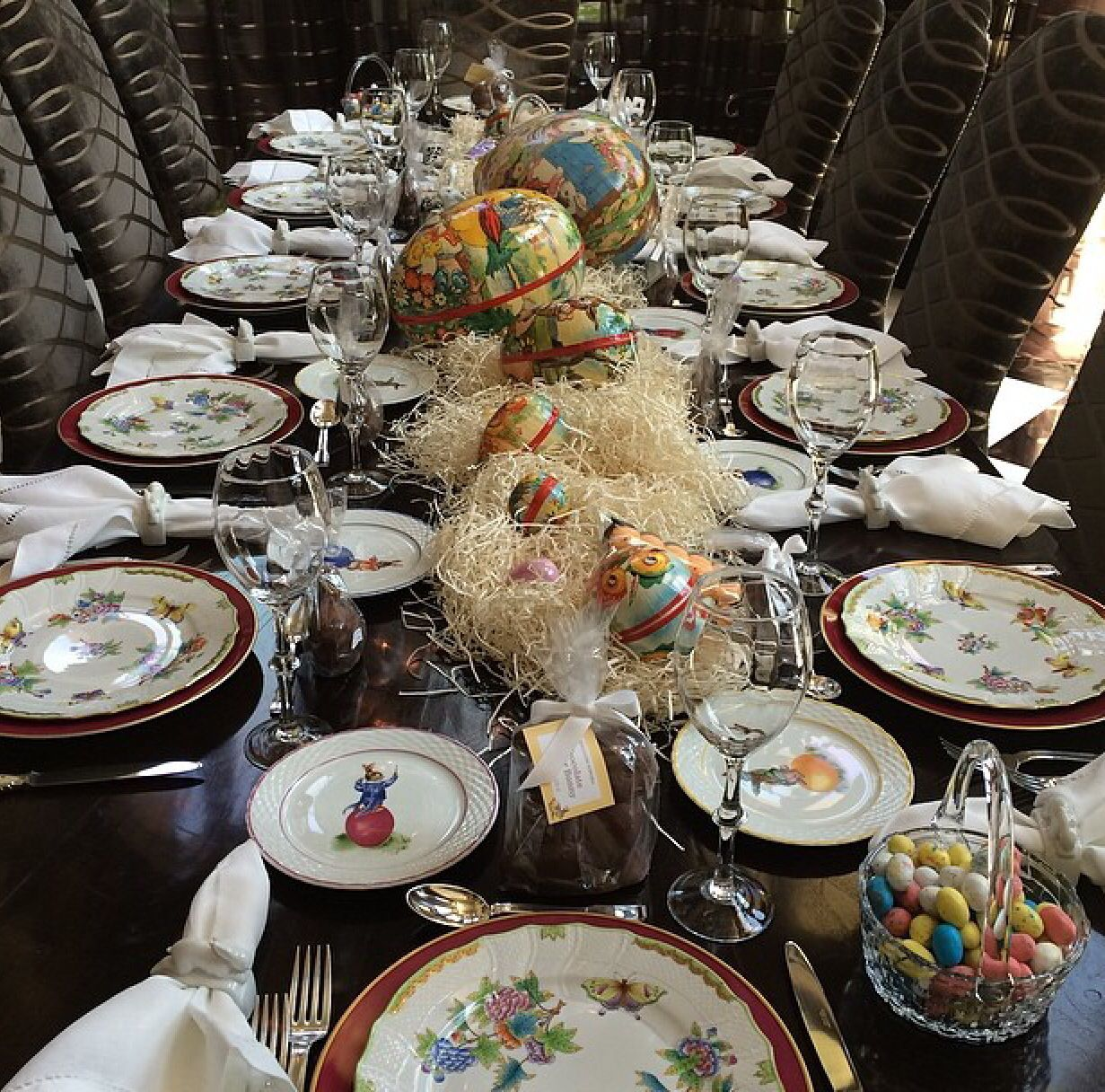 Easter Dinner Table Setting With Herend China (Queen Victoria Pattern) and  Paper Mch Eggs