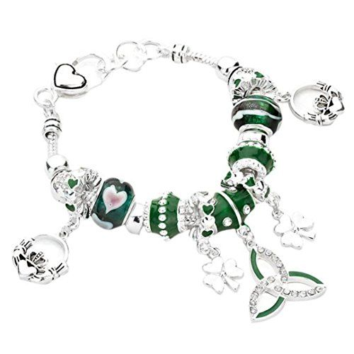Celtic Heart Triquetra Shamrock St Patricks Day Charm Bracelet with Gift Box ElbZOJERX