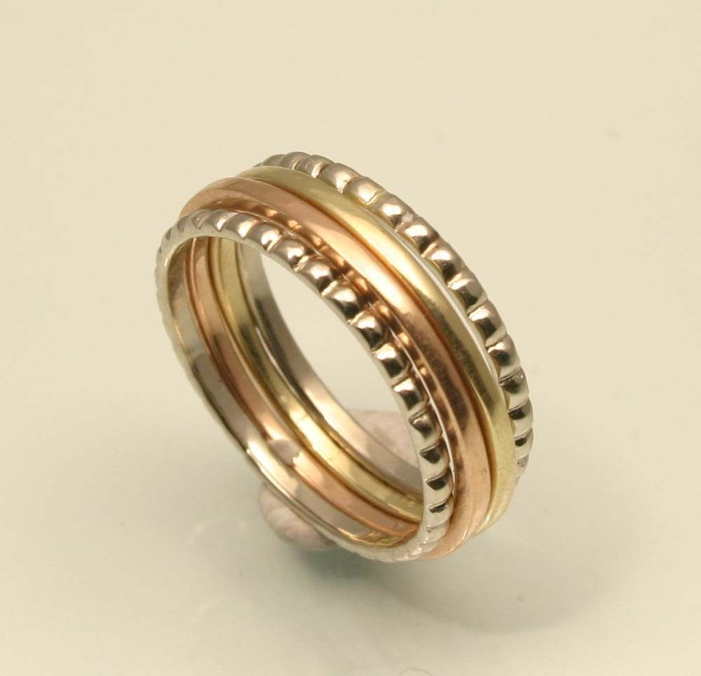 Elizabethan Style 14k Gold Set Of Four Stacking Rings Handmade In Maine