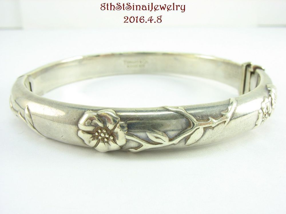 117ac3f5d Retired 2003 Tiffany & Co Nature Rose Bangle Bracelet Sterling Silver 925 # TiffanyCo #Bangle
