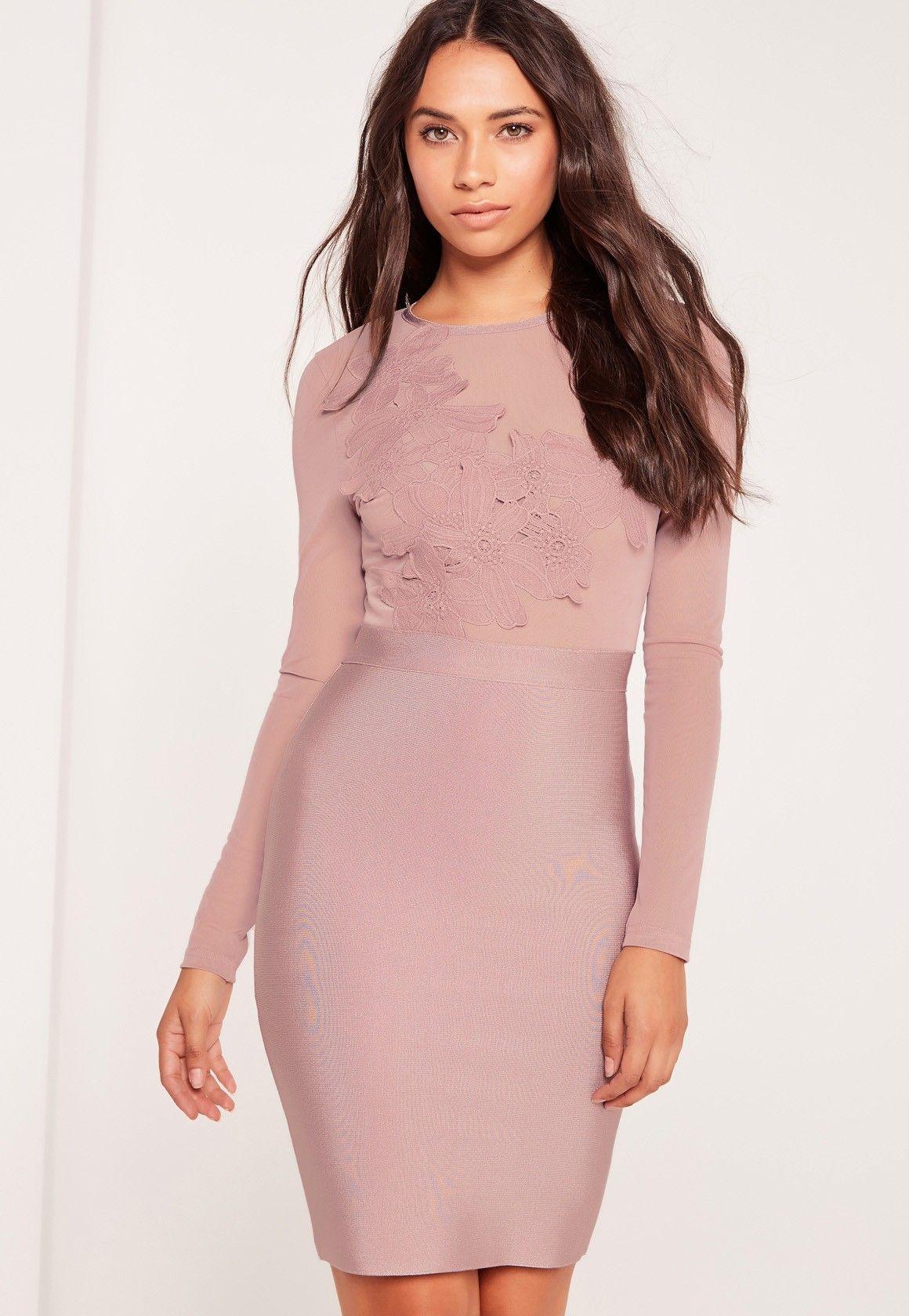 Premium Bandage Lace Applique Midi Dress Mauve | Pinterest