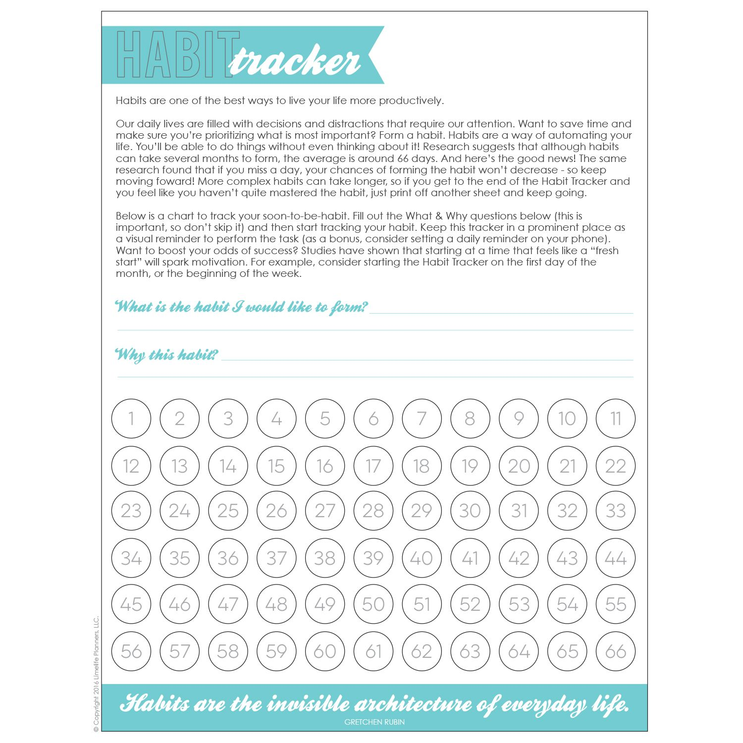 Free Habit Tracker Printable Research Backed Method For Creating A Habit Over 66 Days