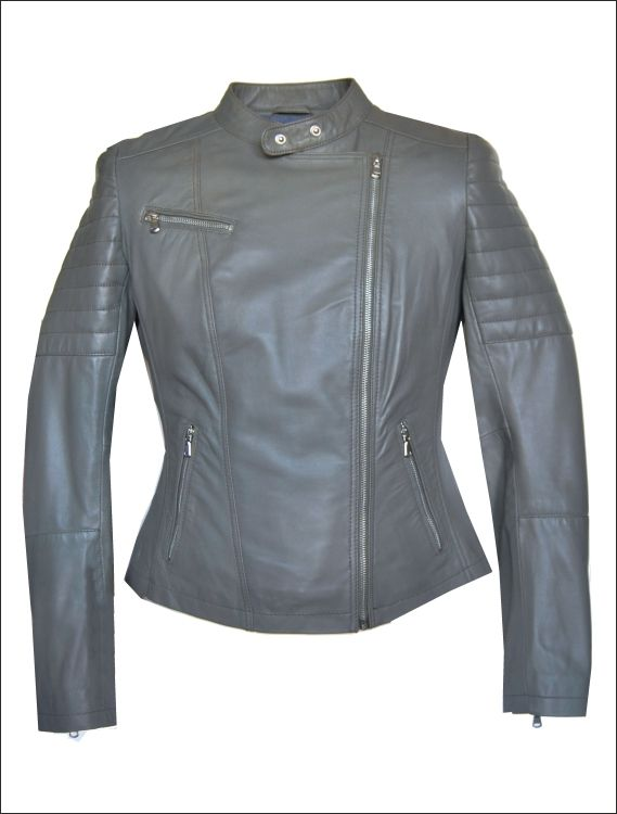 Γυναικείο δερμάτινο μπουφάν Μοντέλο Perfecto Leather Jacket AR939 Δέρμα   soft grey nappa Τιμή  4ff827e8c64