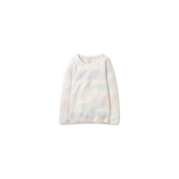 moco moco'パウダー'グラデーションボーダープルオーバー ❤ liked on Polyvore featuring tops
