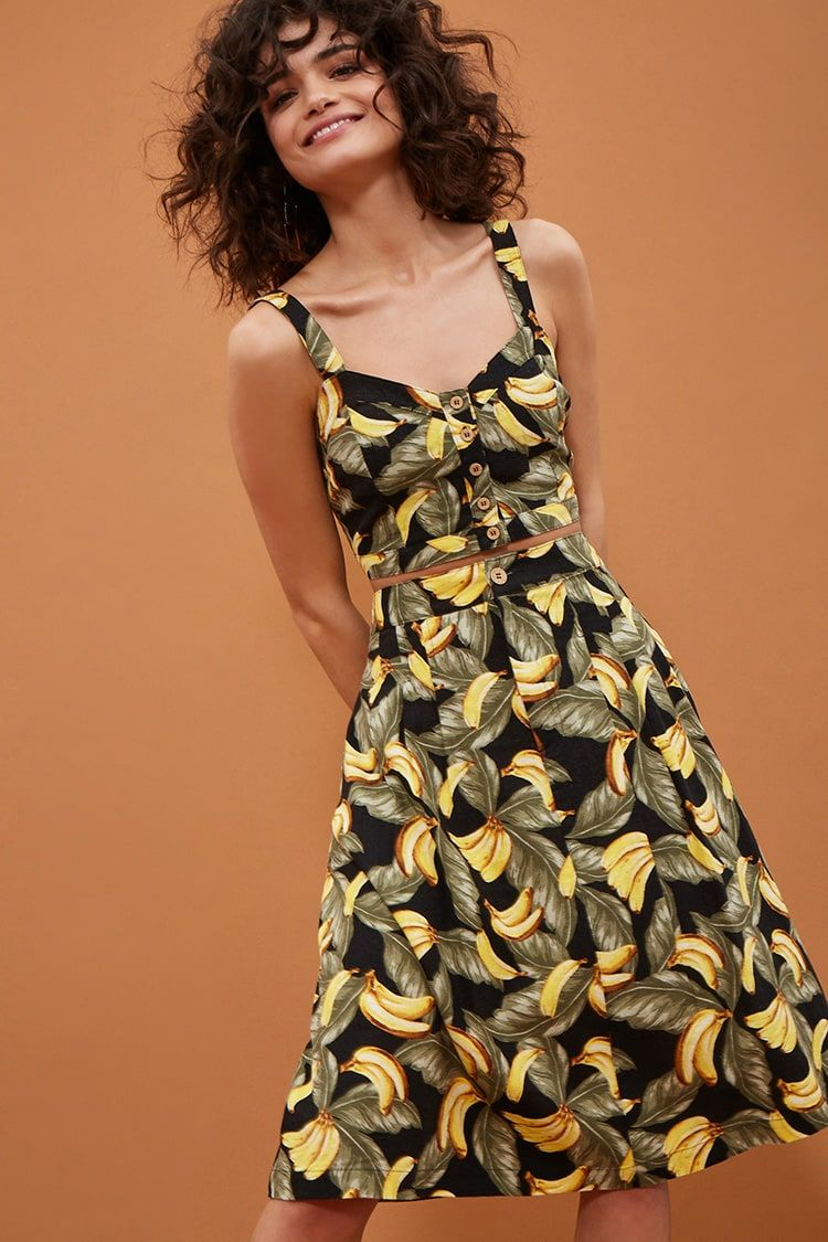 d6c9c021767a Product Name:Linen-Blend Banana Print Skirt, Category:bottoms_skirt,  Price:24.9