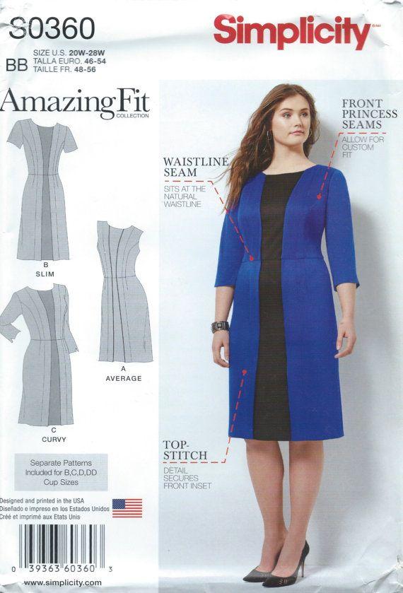 UNCUT Simplicity 1060 Amazing Fit Dress Sewing Pattern Size 10-12-14 ...