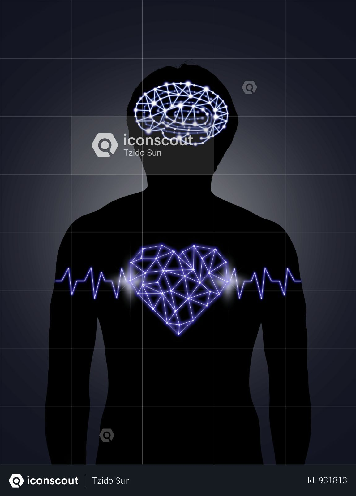Premium Silhouette Of Human Body With Technology Line And Dot Of Polygonal Shape Brain And Heart Photo Download In Png Jpg Format Photo Heart Human Body Brain Shape
