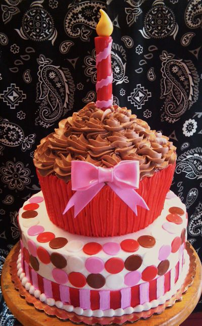 Terrific The Ultimate Birthday Cake Giant Cupcake Stacked Cake With Personalised Birthday Cards Paralily Jamesorg