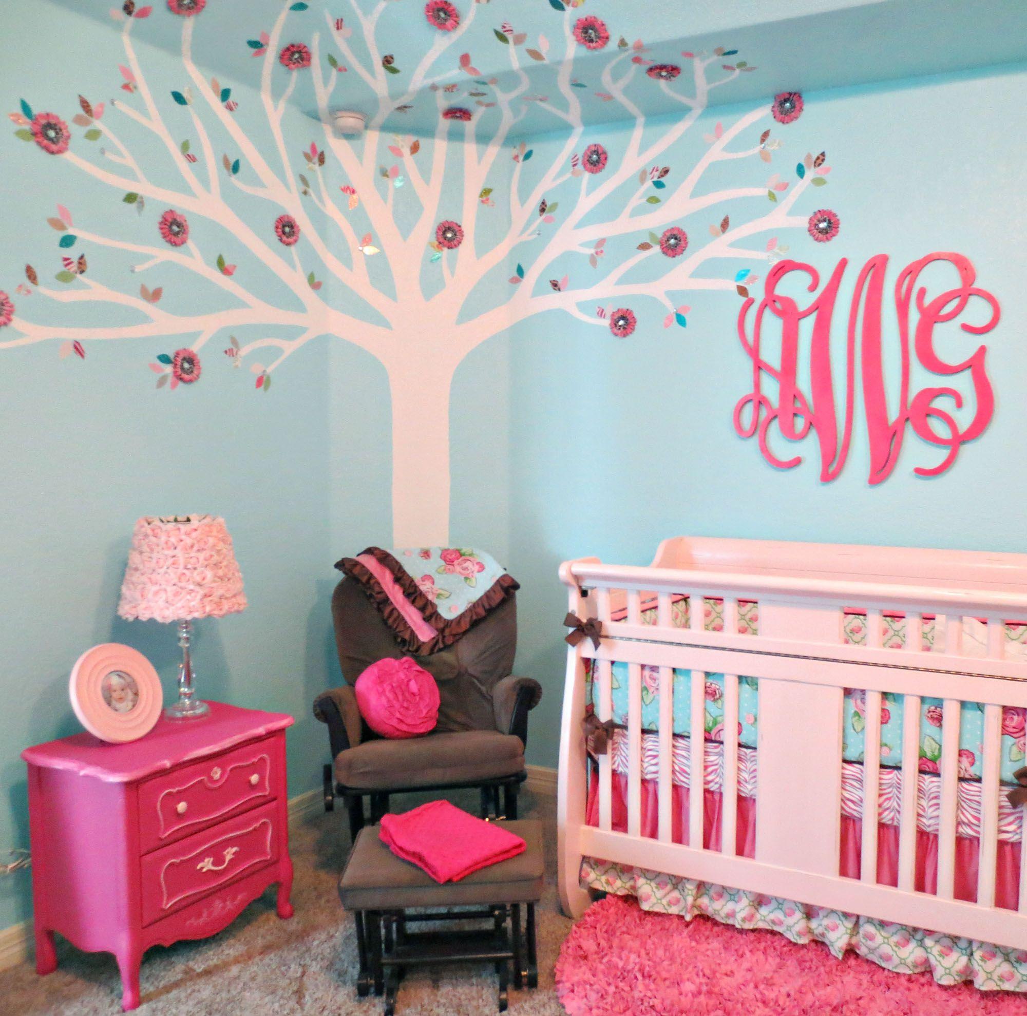 Turquoise and pink bedding - Pink And Aqua Monogram Nursery