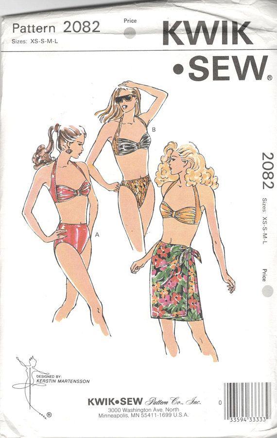 f5f82c39c8061 Kwik Sew 2082 Misses Bikini Swimsuit and Skirt Pattern Regular High Cut Leg  Womens Vintage Sewing Pattern Size xs s m l Bust 31 - 41 UNCUT