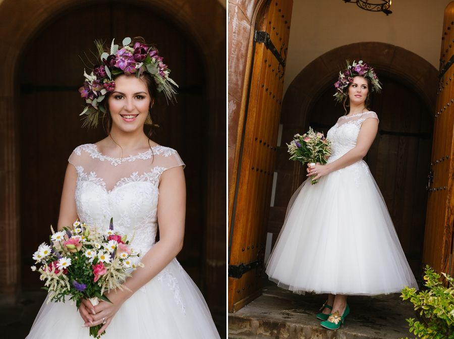 Cute Bridal Portrait With Tea Length Wedding Dress And Irregular