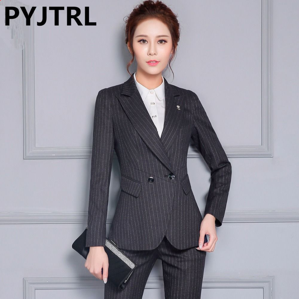 cfa90c4cd Cheap pants suits for work, Buy Quality designer pant suits directly from China  pant suits Suppliers: PYJTRL Autumn Winter Office Ladies Uniform Designs ...