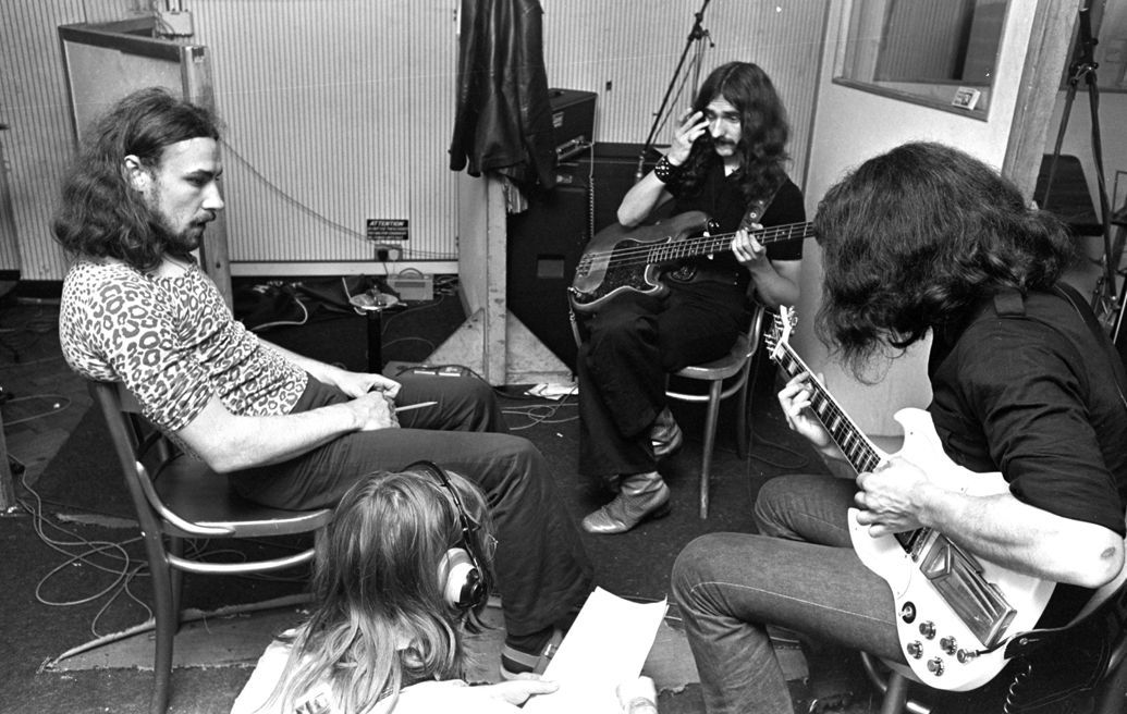 Black Sabbath in the studio recording their debut album 1970.