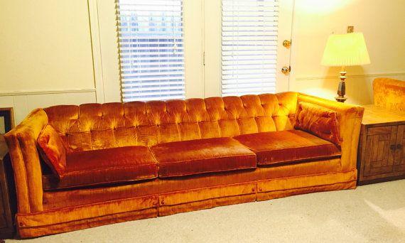 RESERVED Beautiful Vintage Tufted Orange Velvet By 820greenstreet