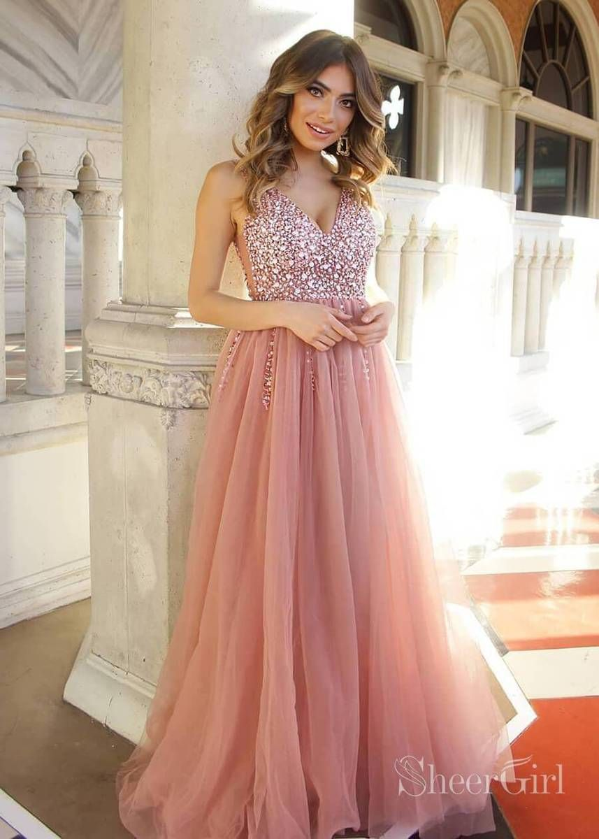 279cfc2734d70 Dusty rose tulle v neck prom dress with beaded bodice. It can be ...