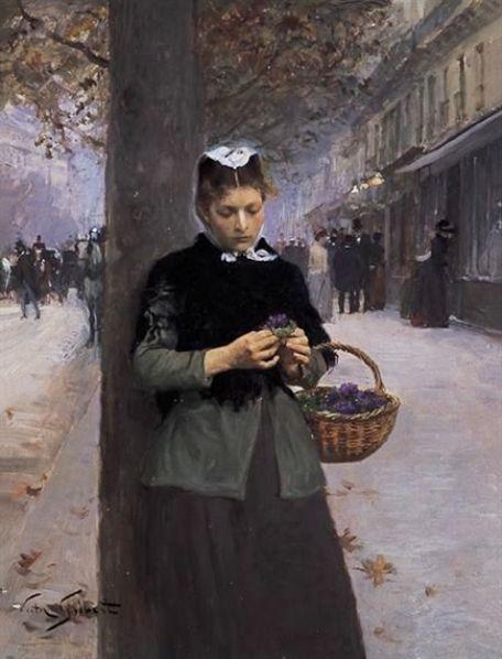 Selling Violets - Victor Gabriel Gilbert (1847 - 1933)