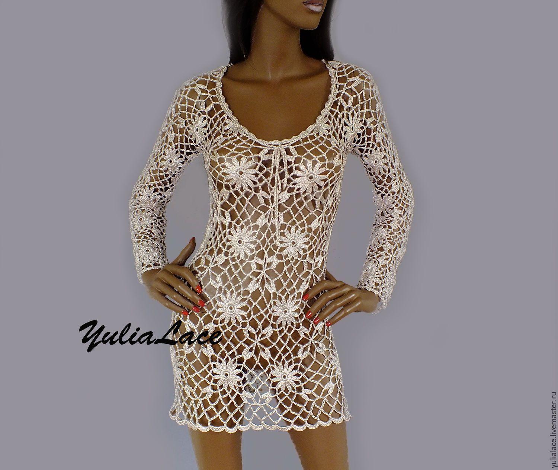 Купить Пляжное платье из вискозного шелка светло-бежевое - бежевый, платье, платье летнее