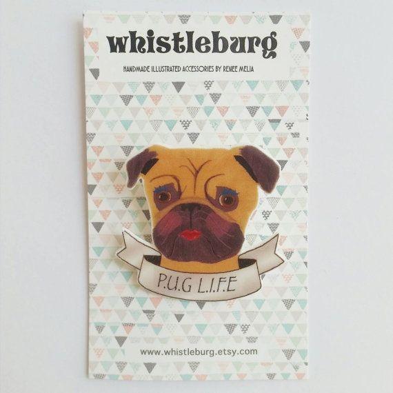 Pug Brooch // pug brooch // dog brooch // statement jewelry // shrink plastic brooch // quirky jewelry