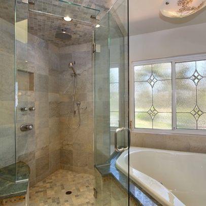 tile on ceiling and floor | window in shower, bathroom