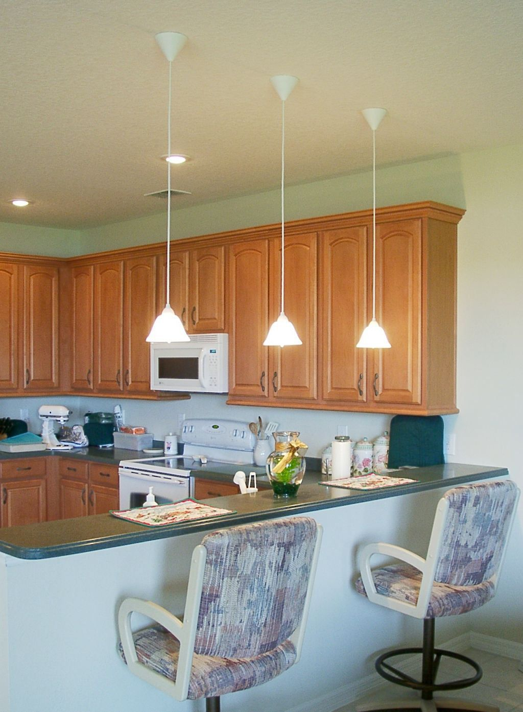 Kitchen Island Lighting Ideas Low Hanging Mini Pendant Lights Over Kitchen Island For An