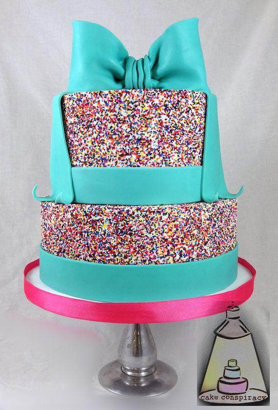 Bow And Sprinkles Birthday Cake Girl Birthday Cakes Pinterest
