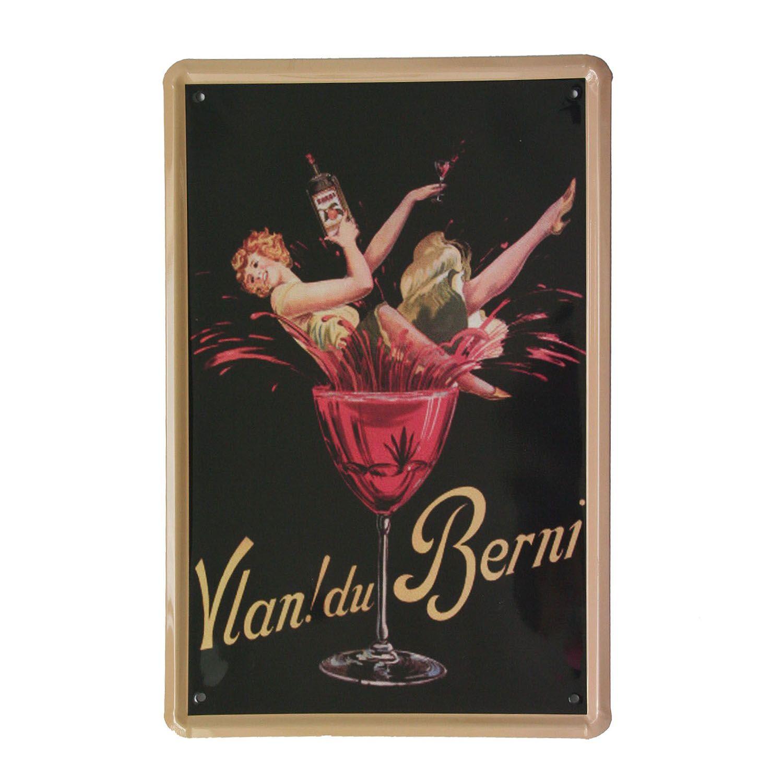 Cuadro de metal impreso vintage VLAN! DU VERNI (20  x 30 cm)