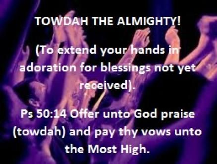 "Scripture References: ""Offer unto God praise (towdah) and pay thy vows unto the Most High."" (Ps 50:14) ""The voice of joy, and the voice of gladness, the voice of the bridegroom, and the voice of th..."