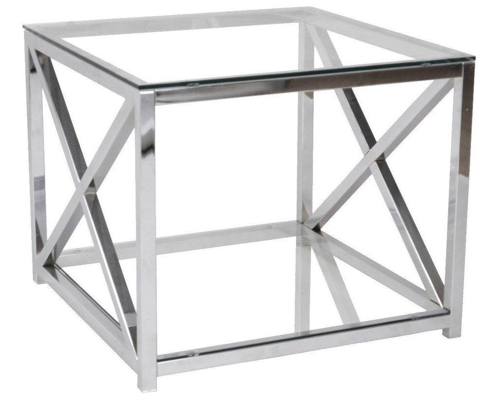 Beistelltisch Metall Chrom Glas 60x60x50 Cm Glastisch Couchtisch Sofatisch Ebay Beistelltisch Metall Glastische Beistelltisch