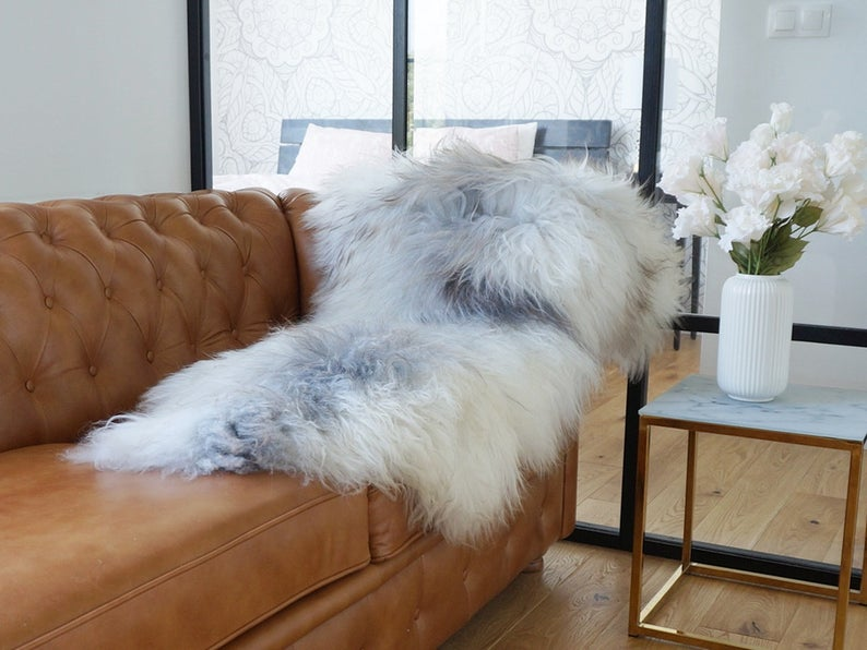 SHEEPSKIN Grey Xxl Rug Genuine Natural Sheepskin Rug Area