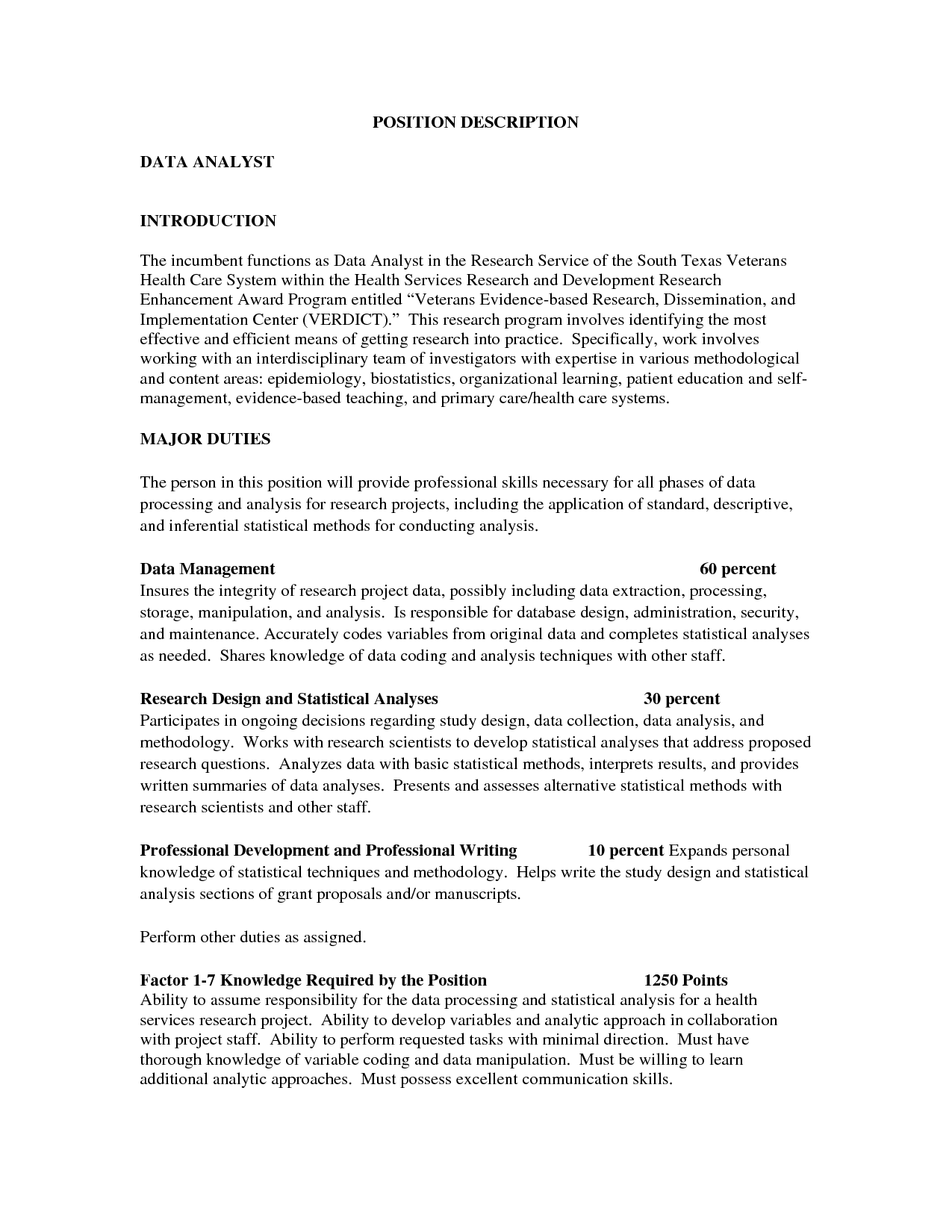 Sample Cover Letter For Data Analyst Position