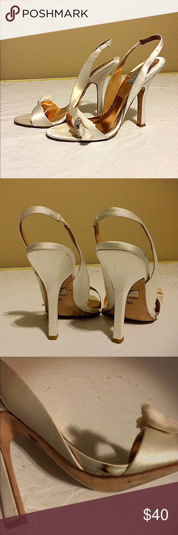 Badgley Mischka Harrow Slingback Satin Sandals Classic , simple yet beautiful shoes with a high heels but not too high that you can't dance in them))). One flaw- small dark spot on the outside part of the show- as shown in picture above. White off color. Badgley Mischka Shoes Sandals