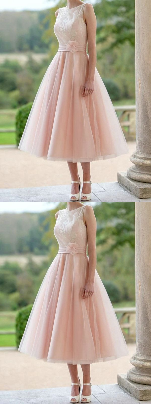 Pear pink homecoming dress aline tealength simple lace cheap