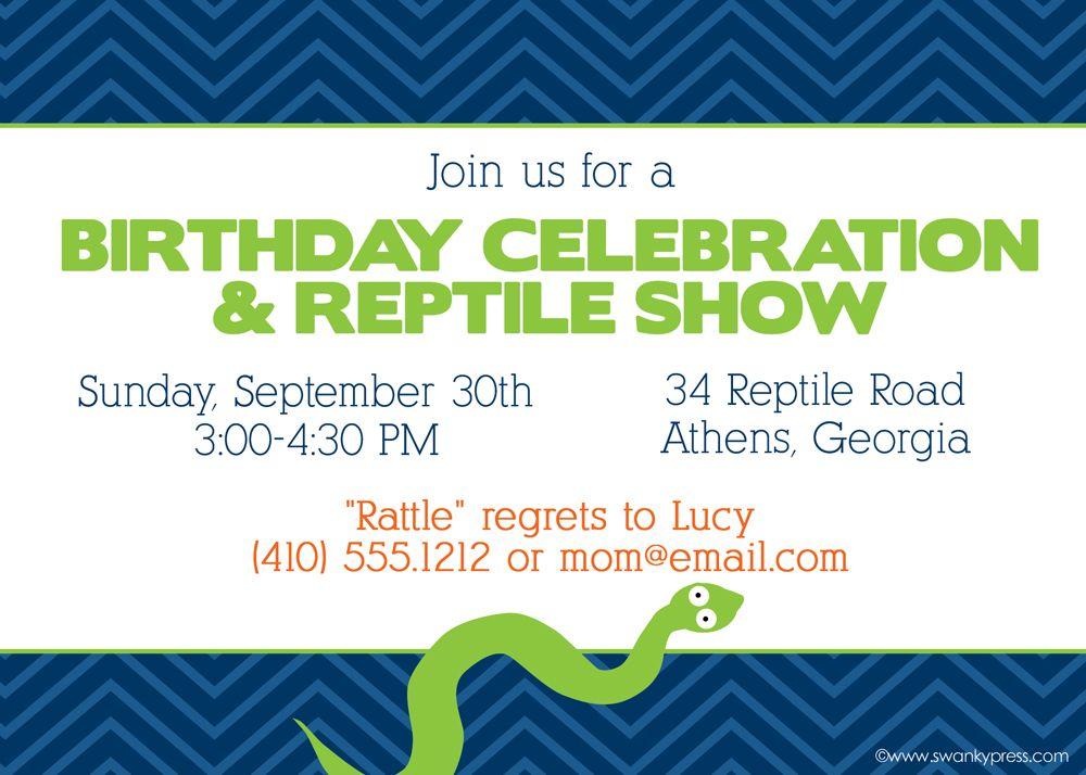 Reptile Birthday Invitation Swanky Press Reptile Party