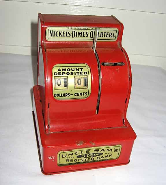 Vintage Lipstick Red Enamel Metal Cash Register Bank c 1960, Uncle Sam's Register Bank