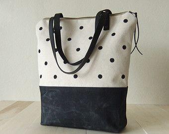 Velký zip Voskovaný Canvas Tote - Malované Vytečkované plátno - Black kožené pásky - Handmade taška přes rameno - černou kabelku ženy dárek