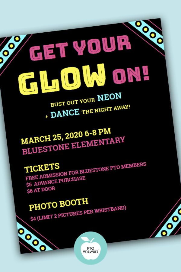 Glow Dance Flyer And Poster Template School Dance Themes School Dance Ideas School Fundraisers