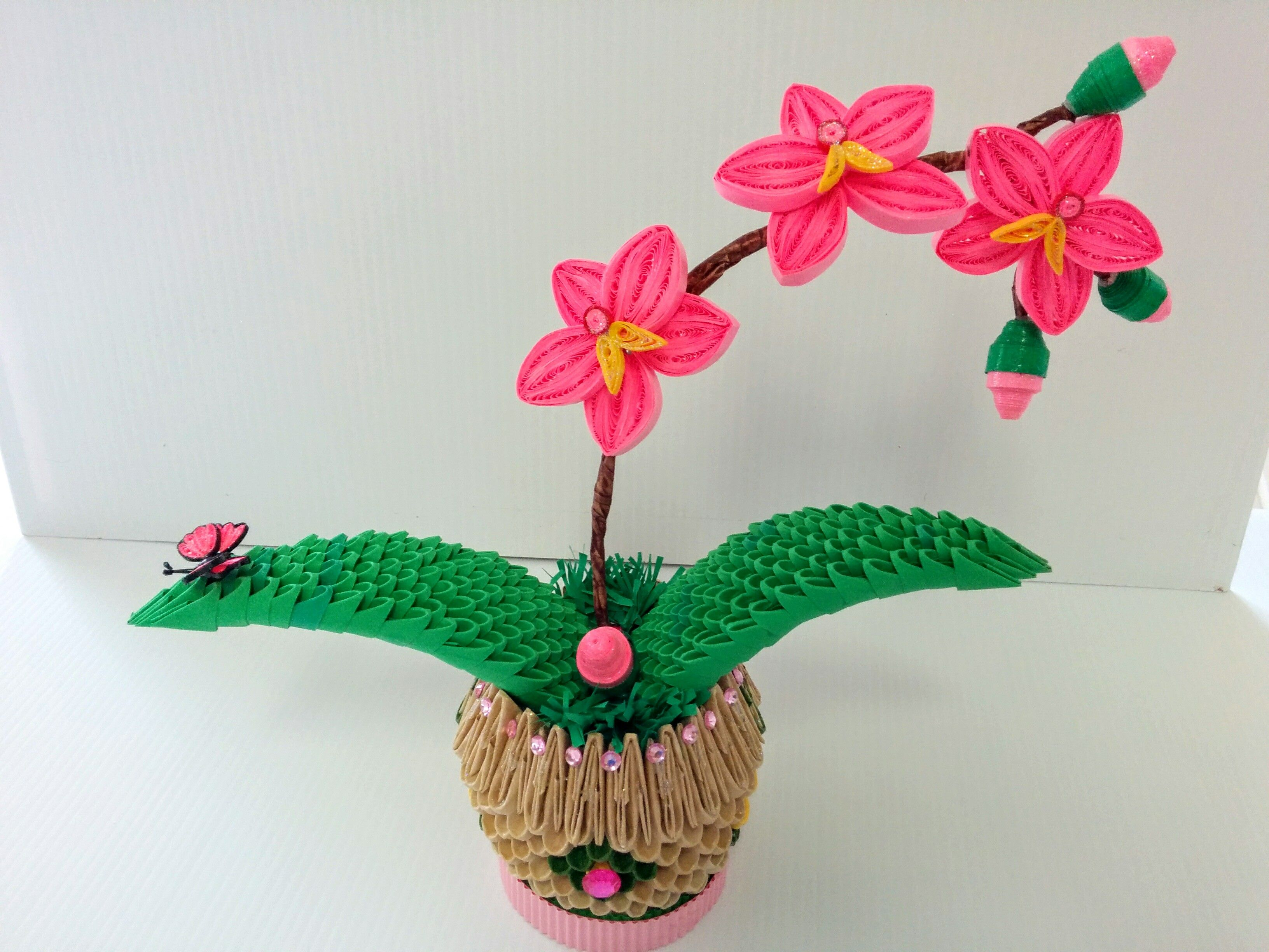 3d Origami And Paper Quilling Orchid 3d Origami Paper Flowers Diy Paper Quilling