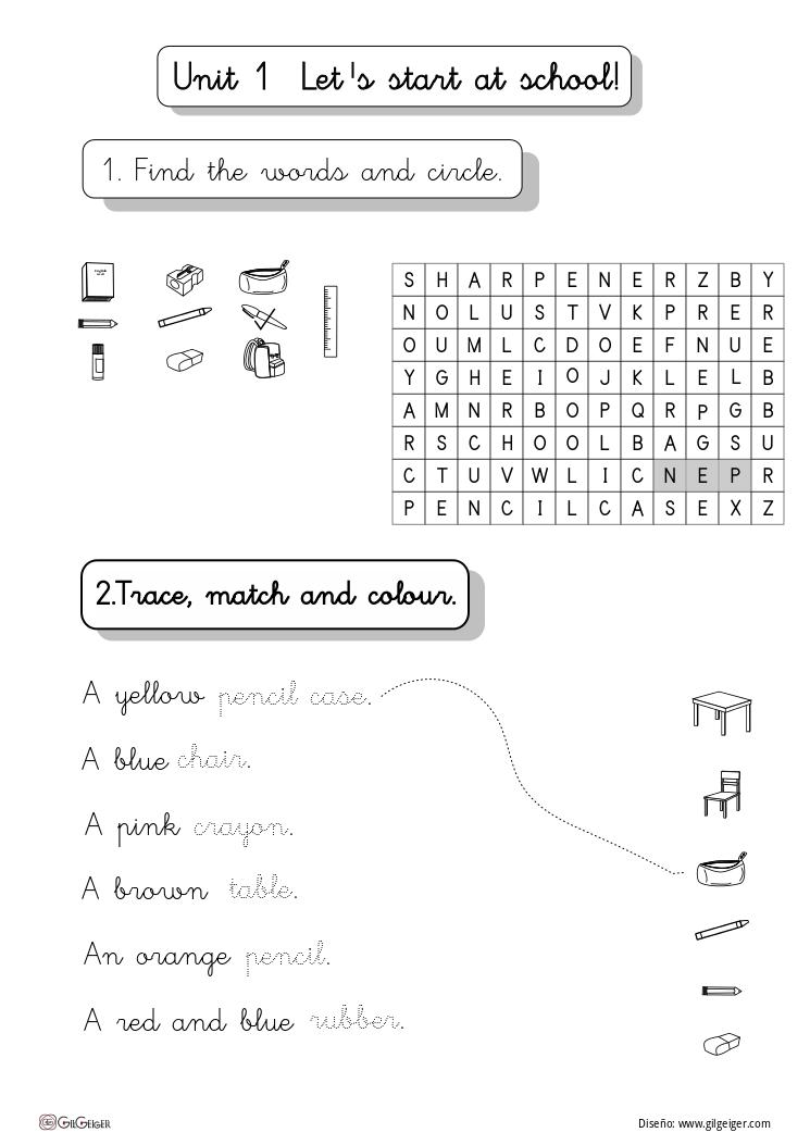 Ejercicios fáciles. | Fichas de refuerzo para inglés de primaria ...