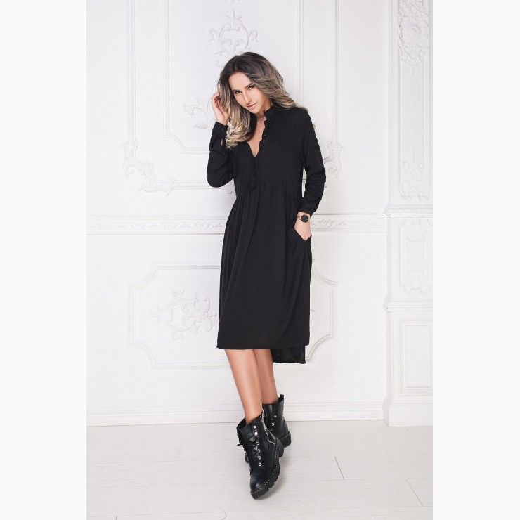 142861e079849d Shirt Type Dress with Pockets in Black