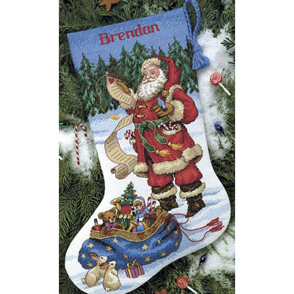 Add a personal touch to your holiday season with this do it add a personal touch to your holiday season with this do it yourself santa cross stitch stockingcross stitch christmas solutioingenieria Images