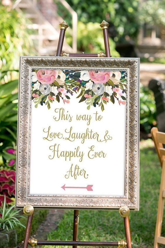PRINTABLE - Love, laughter and happily ever after sign, Gold Wedding Decor, Watercolor Wedding, Summer Wedding, Wedding Directional Sign on Etsy, $18.00