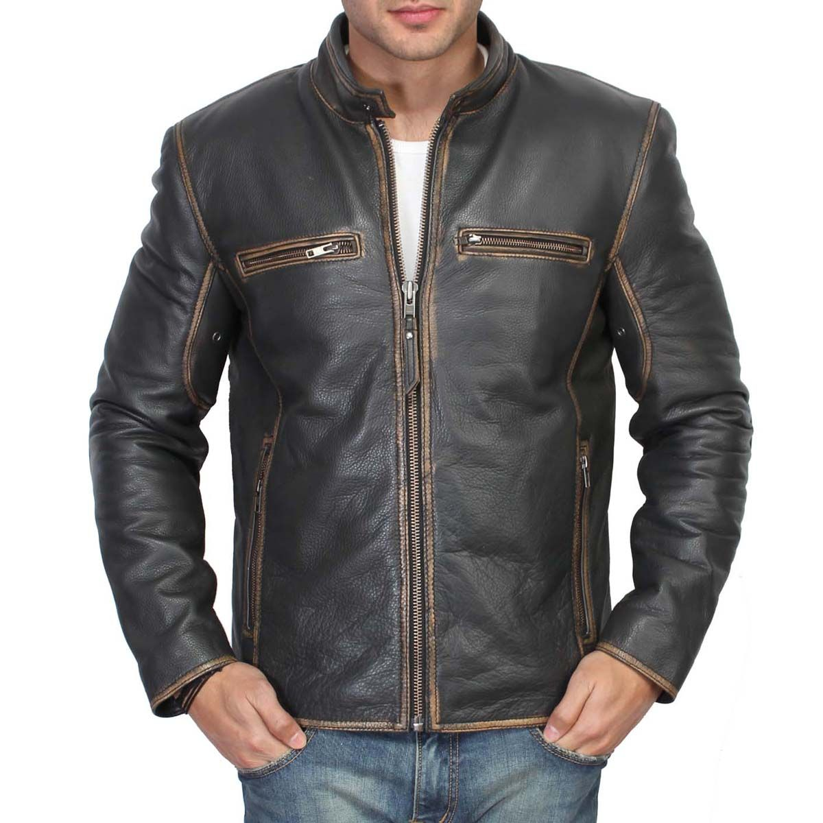 Buy online BLACK MENS BARESKIN LEATHER JACKET @ voganow.com for